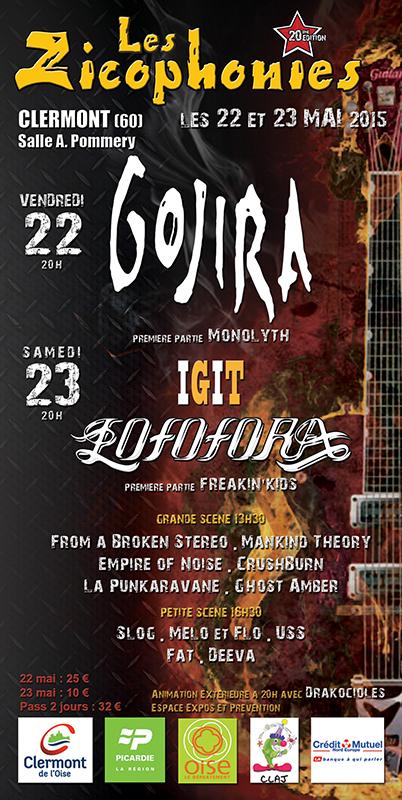 Festival des Zicophonies 2015 GOJIRA et LOFOFORA @ Clermont